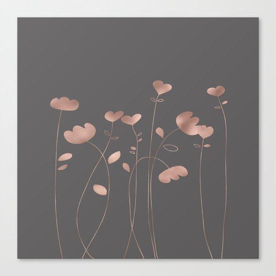 Rosegold pink flowers- floral design- Flower Canvas Print