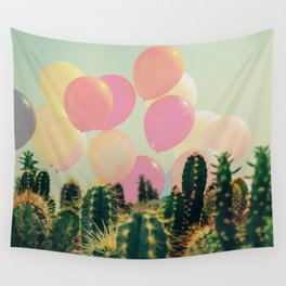Balloons and cactus Wall Tapestry