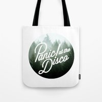 panic at the disco Tote Bags featuring Panic! at the disco round trees  by Van de nacht