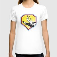 crossfit T-shirts featuring Crossfit Athlete Muscle-Up Gymnastics Ring Retro by patrimonio