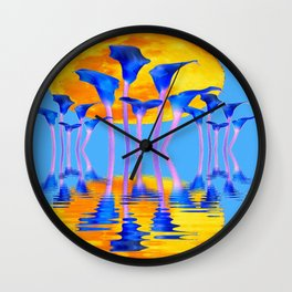 BLUE CALLA LILIES & MOON WATER GARDEN  REFLECTION Wall Clock