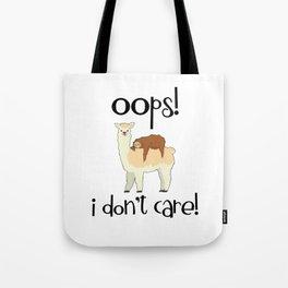 I Don't Care Sloth Llama Lover Sarcasm Sarcastic Misanthrope Tote Bag