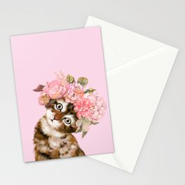 Baby Cat with Flower Crown Stationery Cards