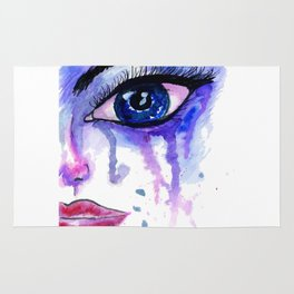 Painted Stylized Face with Blue Eyes Rug