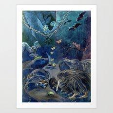 Kiwi, Bats, Morepork and More Art Print