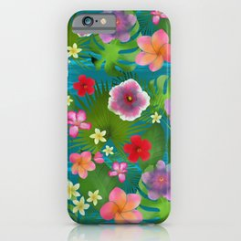 Tropical flowers exotic colorful happy summer iPhone Case