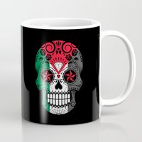 palestine Mugs featuring Sugar Skull with Roses and Flag of Palestine by Jeff Bartels