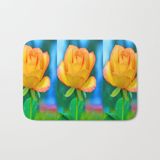 Yellow Rose with Turquoise Bath Mat