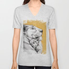 Lioness Mom Love Art Unisex V-Neck