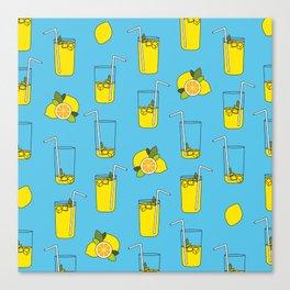Blue Lemonade Pattern Canvas Print