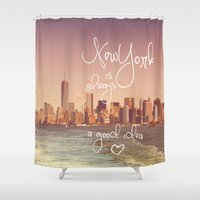 new york Shower Curtains featuring NEW YORK NEW YORK by SUNLIGHT STUDIOS  Monika Strigel
