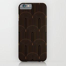 Art Deco Arch Pattern VI Black & Orange iPhone Case