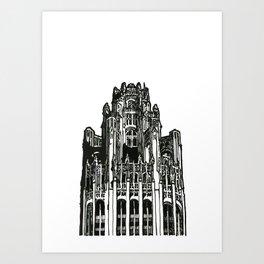Triptych 3 - Tribune Tower - Original Drawing Art Print