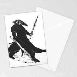 Samurai skull - japanese evil - black and white - fighter illustration - grim reaper cartoon Stationery Cards