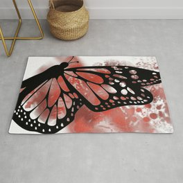 Butterfly in Red Paint Rug
