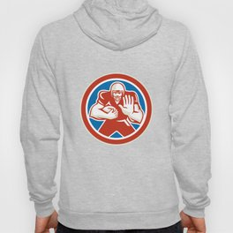 American Football Player Fend Off Circle Retro Hoody