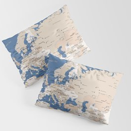 Let's get lost detailed world map with cities in blue and brown, Gabriel Pillow Sham