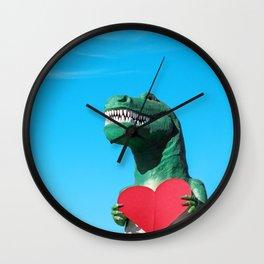 Tiny Arms, Big Heart: Tyrannosaurus Rex with Red Heart Wall Clock
