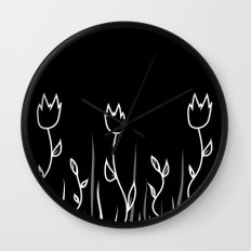 Simple flower black Wall Clock