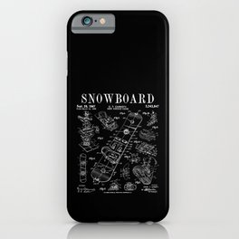 Snowboard Winter Snowboarding Vintage Patent Drawing Print iPhone Case