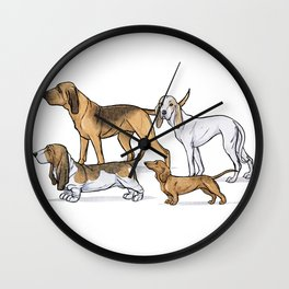 Nosy Scenthounds Wall Clock