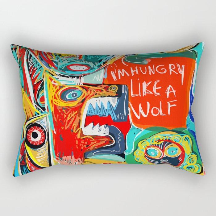 I'm hungry like a wolf Street Art Graffiti Rectangular Pillow