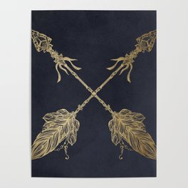 Arrows Gold Copper Bronze on Navy Blue Poster
