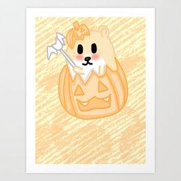 Kawaii Hamster in a Pumpkin Art Print
