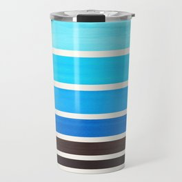 Cerulean Blue Minimalist Watercolor Mid Century Staggered Stripes Rothko Color Block Geometric Art Travel Mug