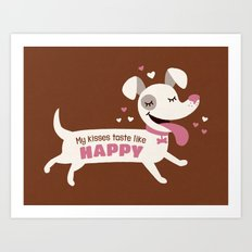 Dog kisses Art Print