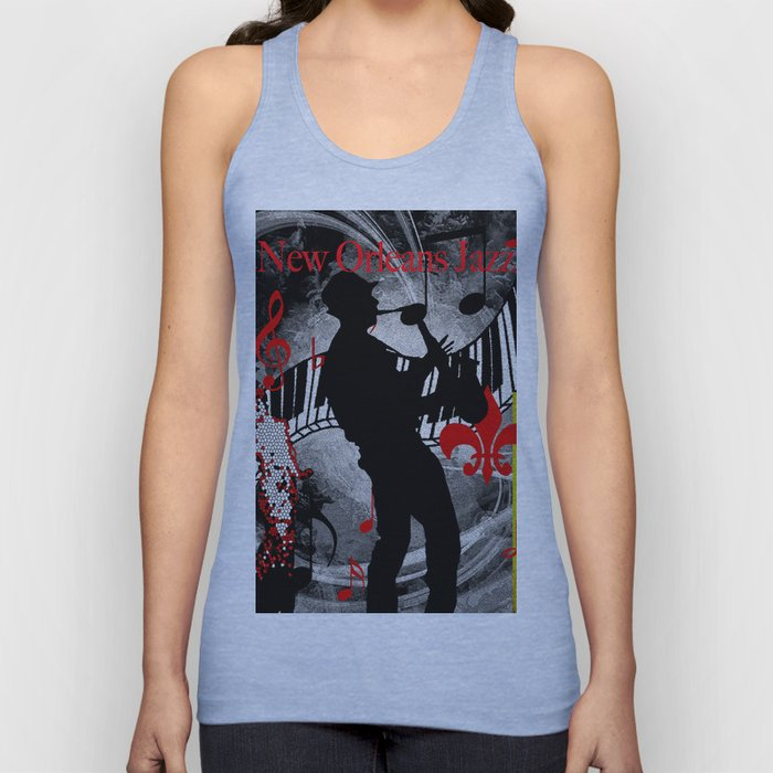 New Orleans Jazz Saxophone And Piano Music Unisex Tank Top