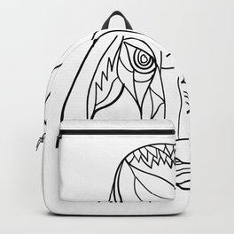 Brahma Bull Head Mosaic Black and White Backpack