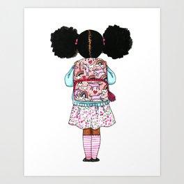 Bckpack and Puffs Art Print