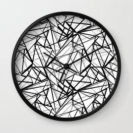 Black and white abstract geometric pattern . Wall Clock