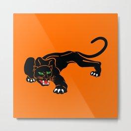 Big Hungry, Black Cat With Green Eyes Metal Print