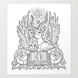 Information Antelope - Black Lines Art Print