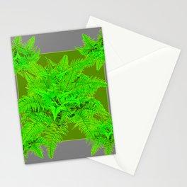 REFRESHING  NATURAL GREEN FERNS  GREY ART Stationery Cards