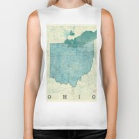 ohio state Biker Tanks featuring Ohio State Map Blue Vintage by City Art Posters