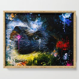 guinea pig colorful side portrait wsstd Serving Tray