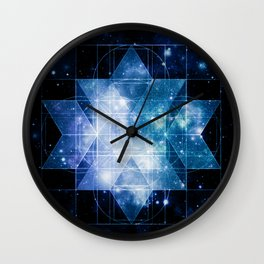 galaxy sacred geometry Turquoise Teal Wall Clock