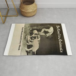 Vintage Be Kind To Animals Advert - Black and White Rug