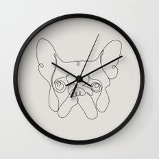One Line French bulldog Wall Clock