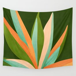 Colorful Agave / Painted Cactus Illustration Wall Tapestry