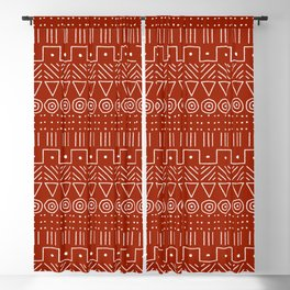 Mudcloth Style 1 in White on Red Blackout Curtain