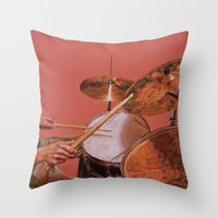 drum Throw Pillows featuring Drum Set by Peter Beck
