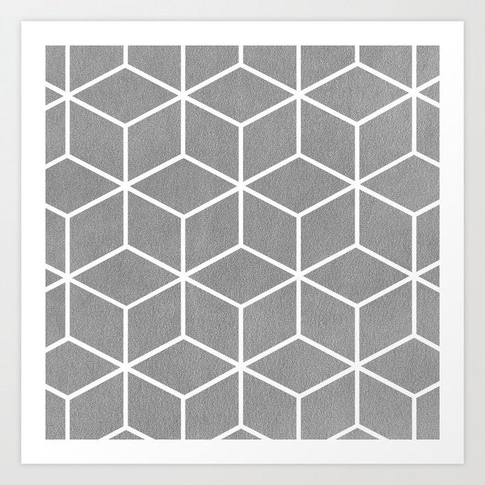 Light Grey and White - Geometric Textured Cube Design Kunstdrucke