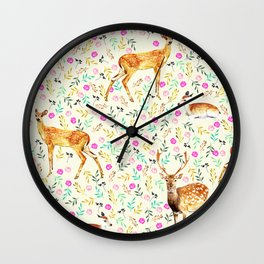 Deers #society6 #illustration #christmas Wall Clock