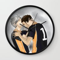 haikyuu Wall Clocks featuring Defeated Haikyuu!! by Pruoviare