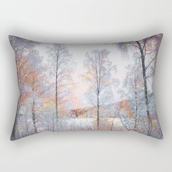 Winter in Norwegian Woods Rectangular Pillow