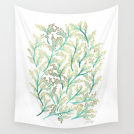 Green & Gold Branches Wall Tapestry